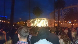 The rock stage at St Kilda Festival