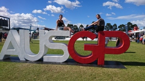 Sitting on the #AUSGP sign