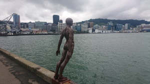 A sculpture on the Wellington waterfront looking to the city