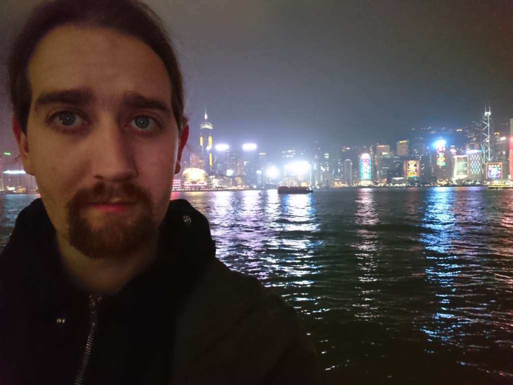 Me in f`ront of Hong Kong harbour
