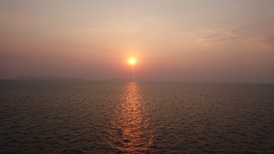A sunset from the cruise ship