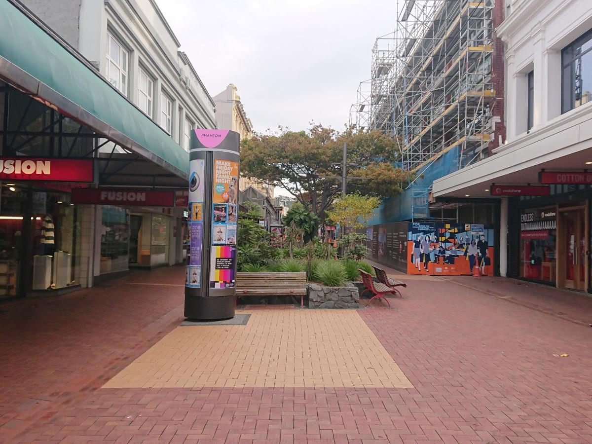 Cuba Street in Wellington devoid of people