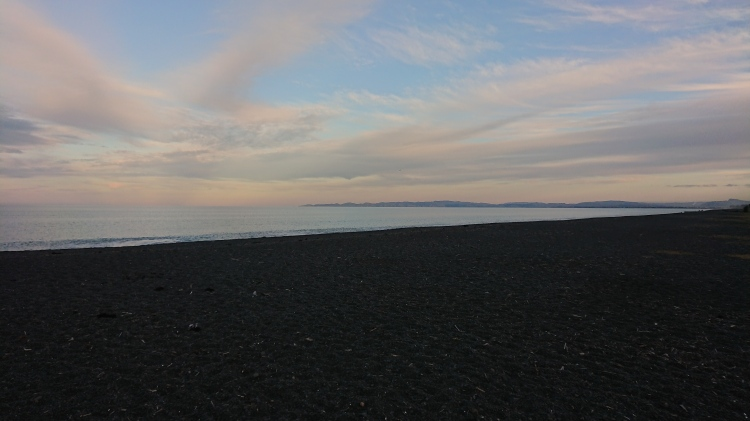 Black sand at the Napier waterfront