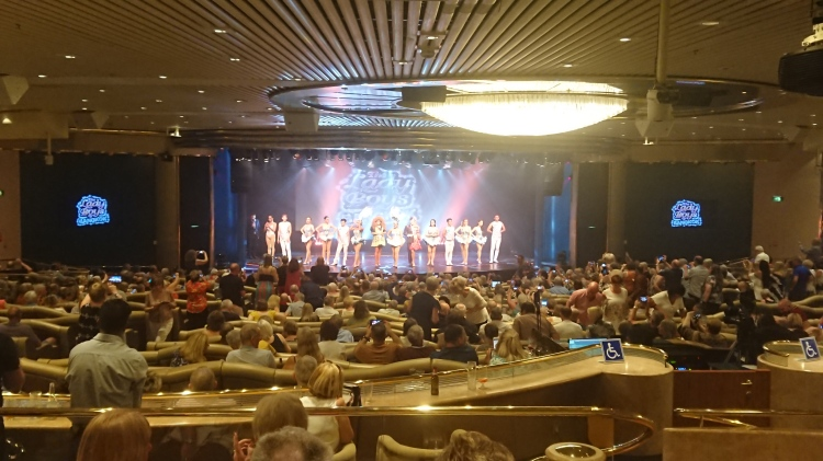 The theatre on the cruise ship had a variety of shows, with at least one a day
