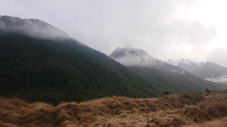 Mountains wrapped in cloud in Fiordland National Park