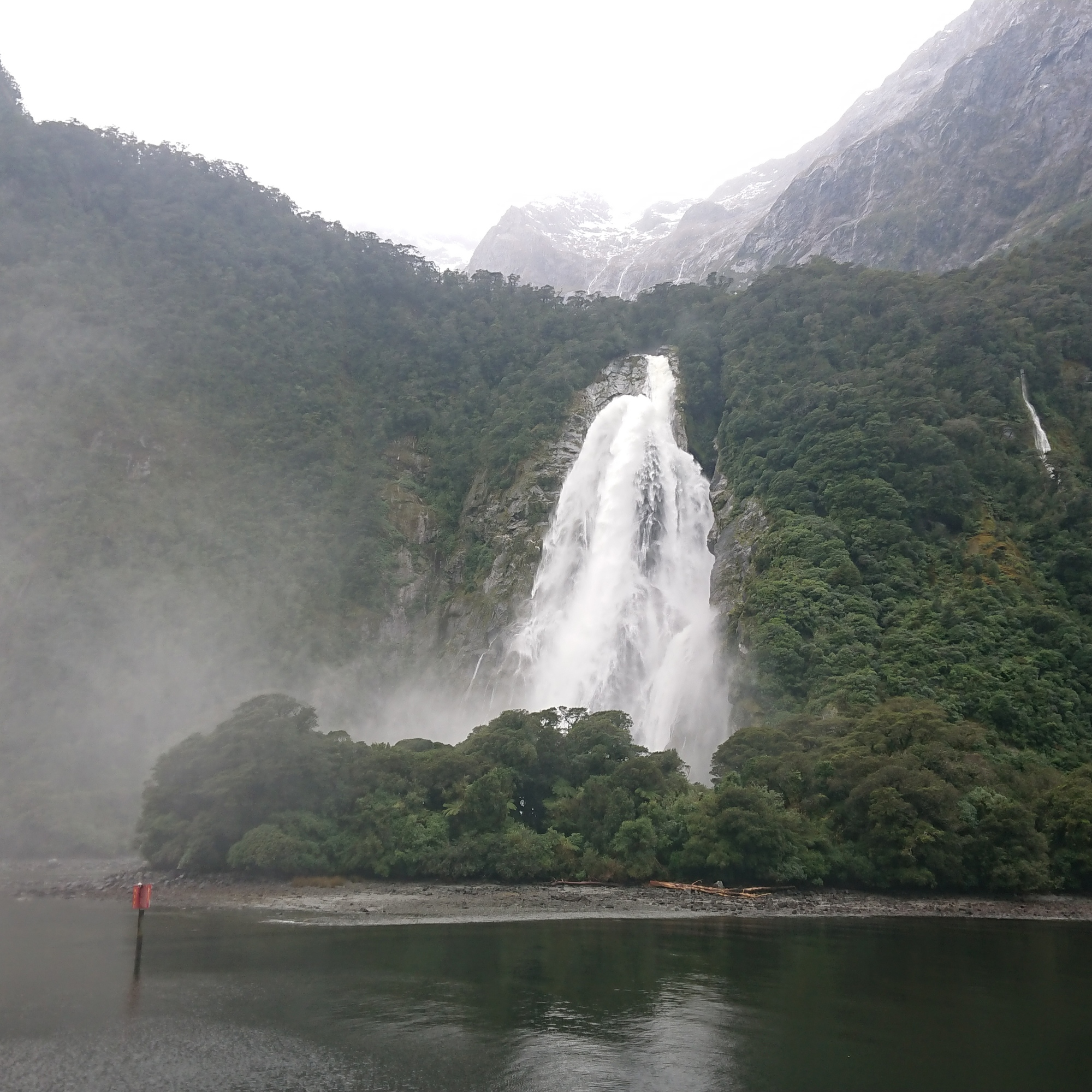 The first permanent waterfall in Milford Sound