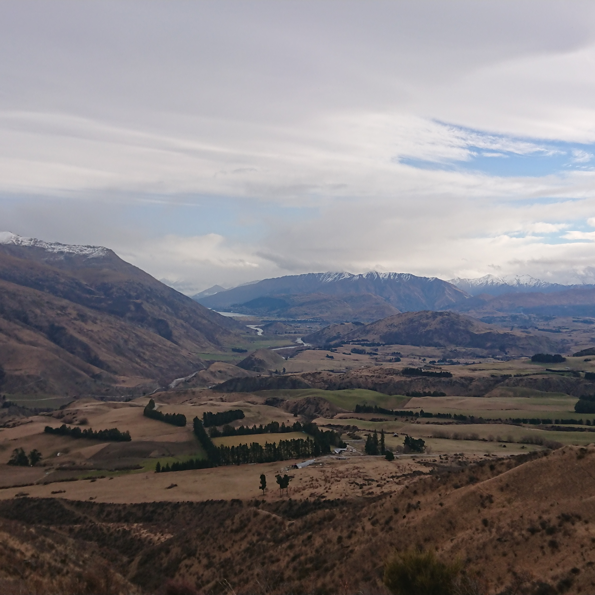 Looking back over the hills to Queenstown from the Crown Range