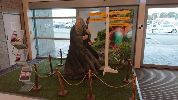 A statue of Gandalf in Hamilton Airport