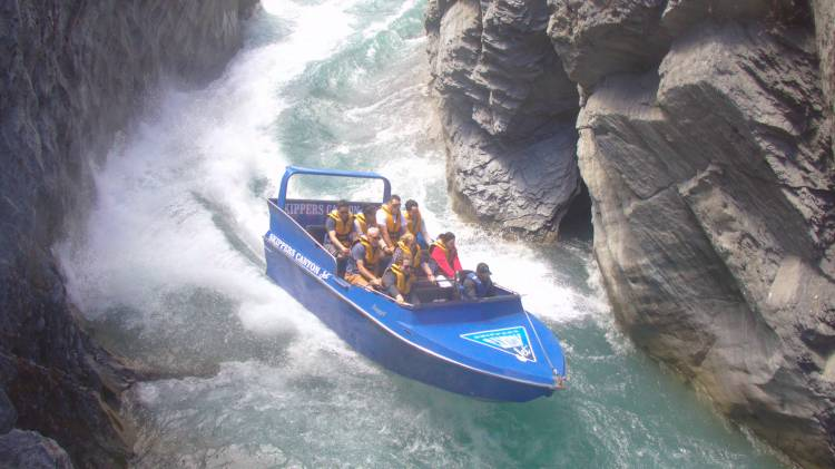 Sharp turns are part of the fun with Skippers Canyon Jet