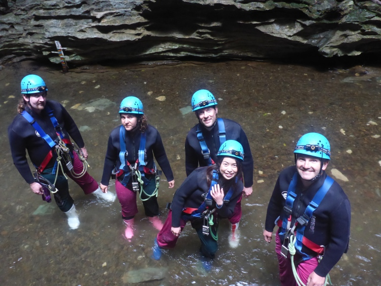Our group ready to enter the caves