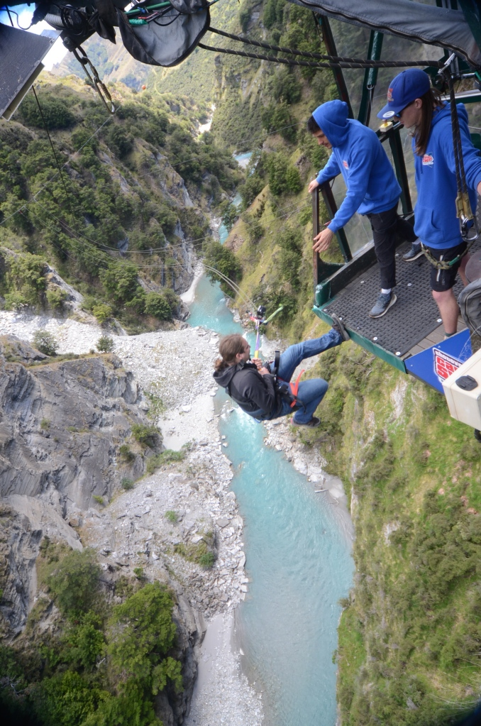 Falling backwards for the canyon swing