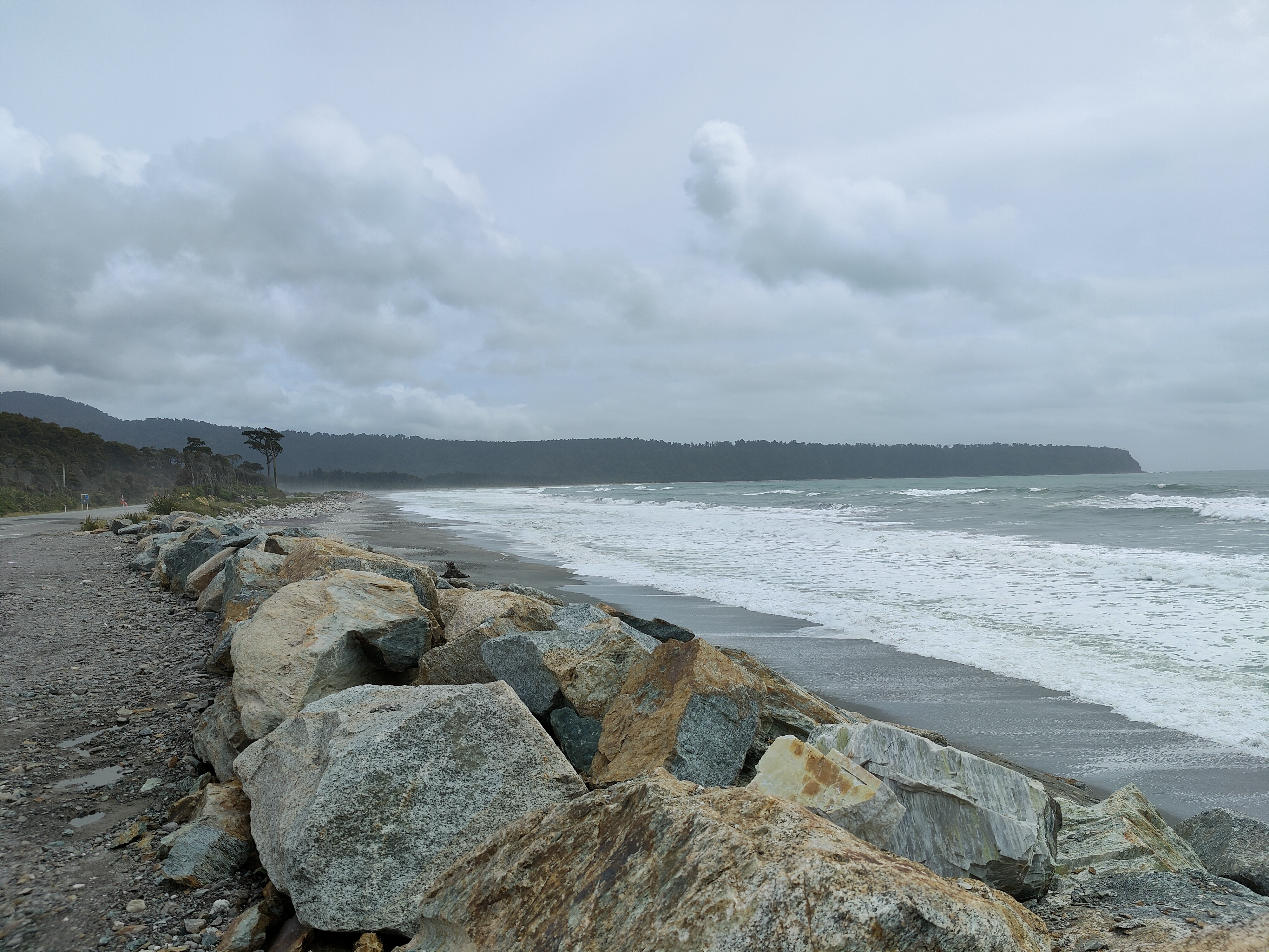 The Beach at Bruce Bay on a grey and windy day