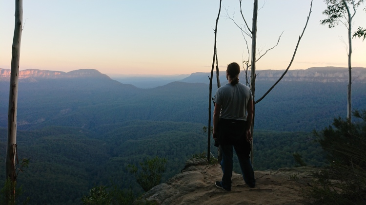 Looking out at the Blue Mountains