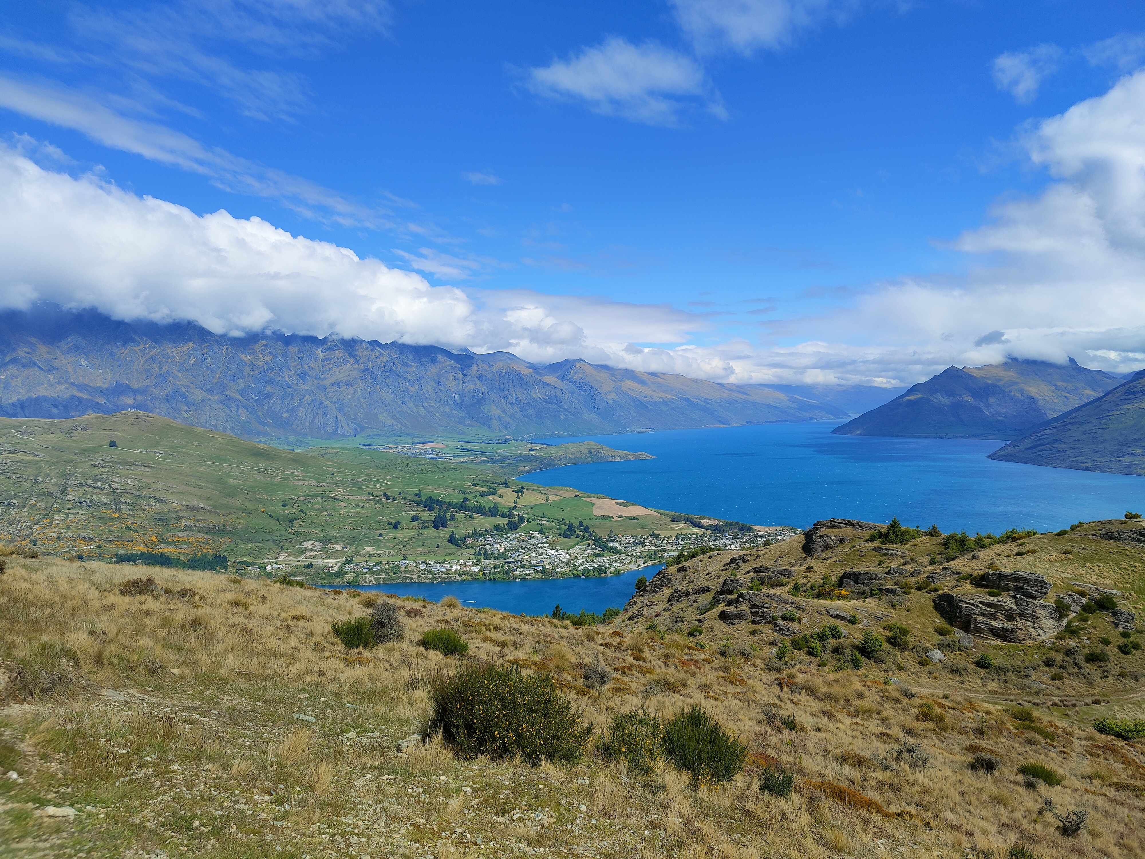 The Remarkables mountain range is clearly visible from Queenstown Hill