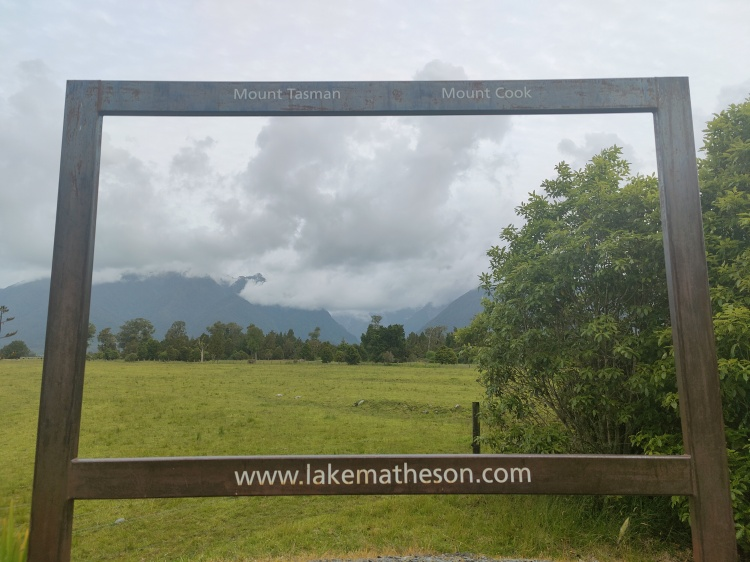 A frame at Lake Matheson showing where distant mountains would be...without clouds