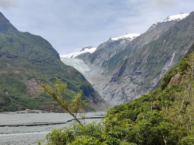 Franz Josef Glacier in the summer, but the trail leading to it has collapsed