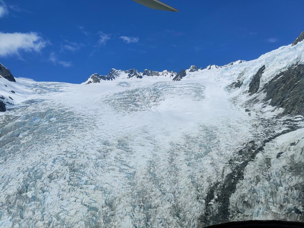 Passing over the Franz Josef Glacier via helicopter