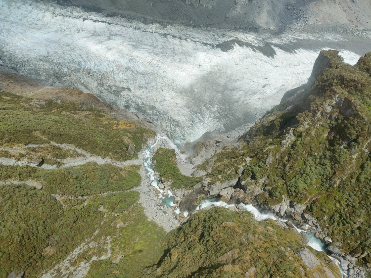 Looking down to the Victoria Falls from the helicopter