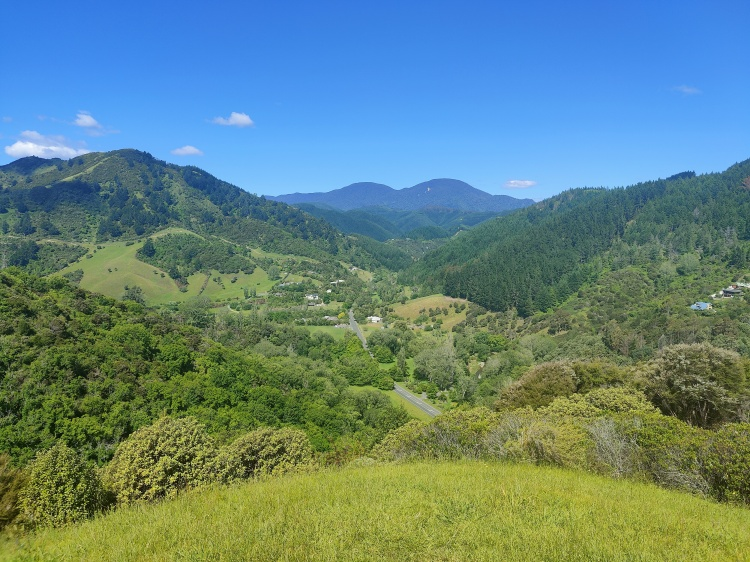 View into the valley from the geographical center of Aotearoa New Zealand