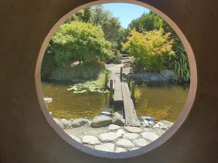 Window view at the Miyazu Gardens in Nelson