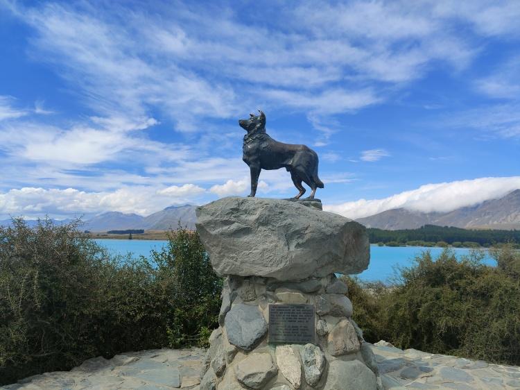 The Sheepdog Memorial in front of Lake Tekapo