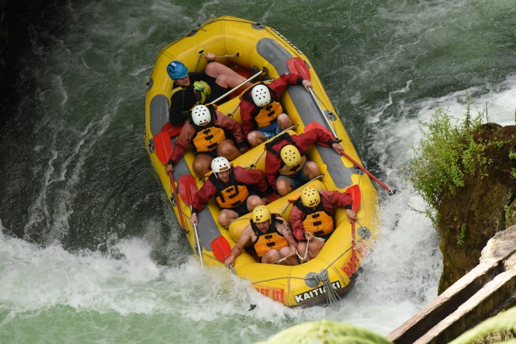 Going over the first waterfall on the Kaituna River