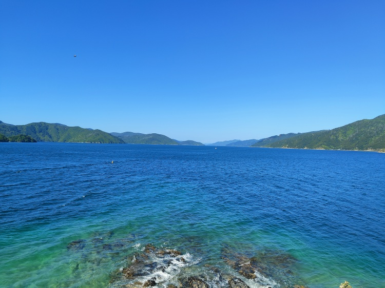 The view at the Snout, looking out further to the Marlborough Sounds