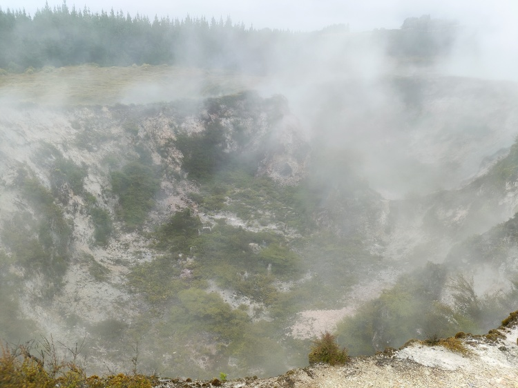 A crater full of steam at Craters of the Moon