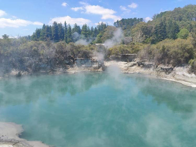 One of the geothermal lakes at Whakarewarewa Village