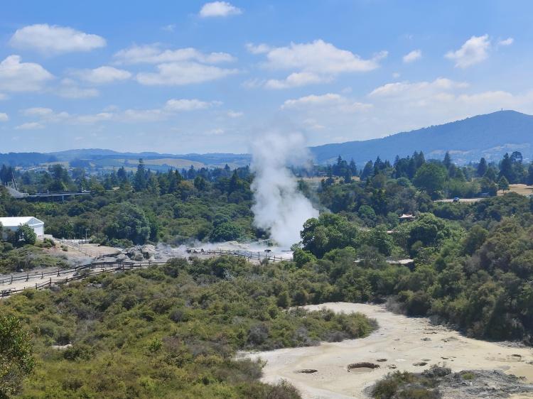 Steam from the Pohutu geyser in the distance at Whakarewarewa Village