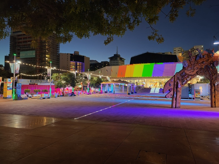Aotea Square at night in Auckland