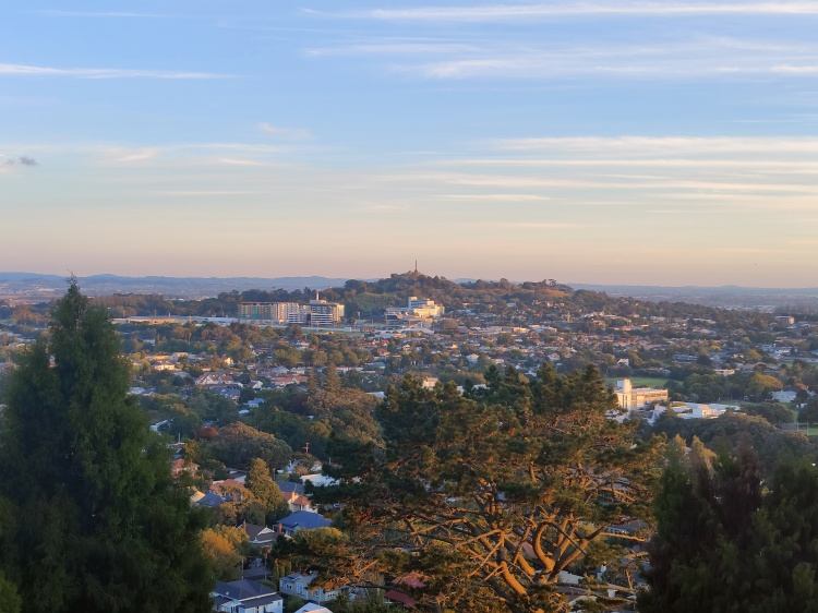 Looking out to the suburbs of Auckland from Mt Eden