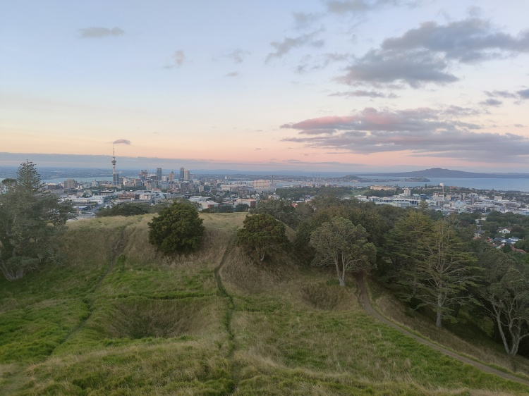 Stunning view of Auckland CBD as the sun sets from Mt Eden