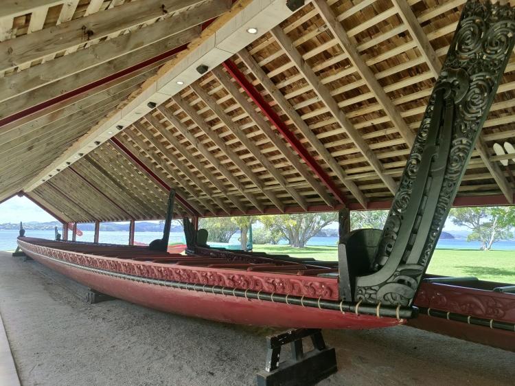 A ceremonial war canoe